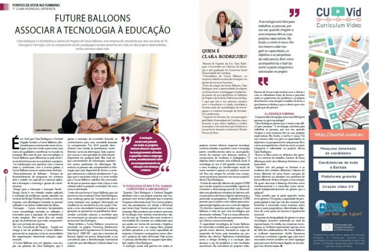 Future Balloons highlighted in Pontos de Vista magazine